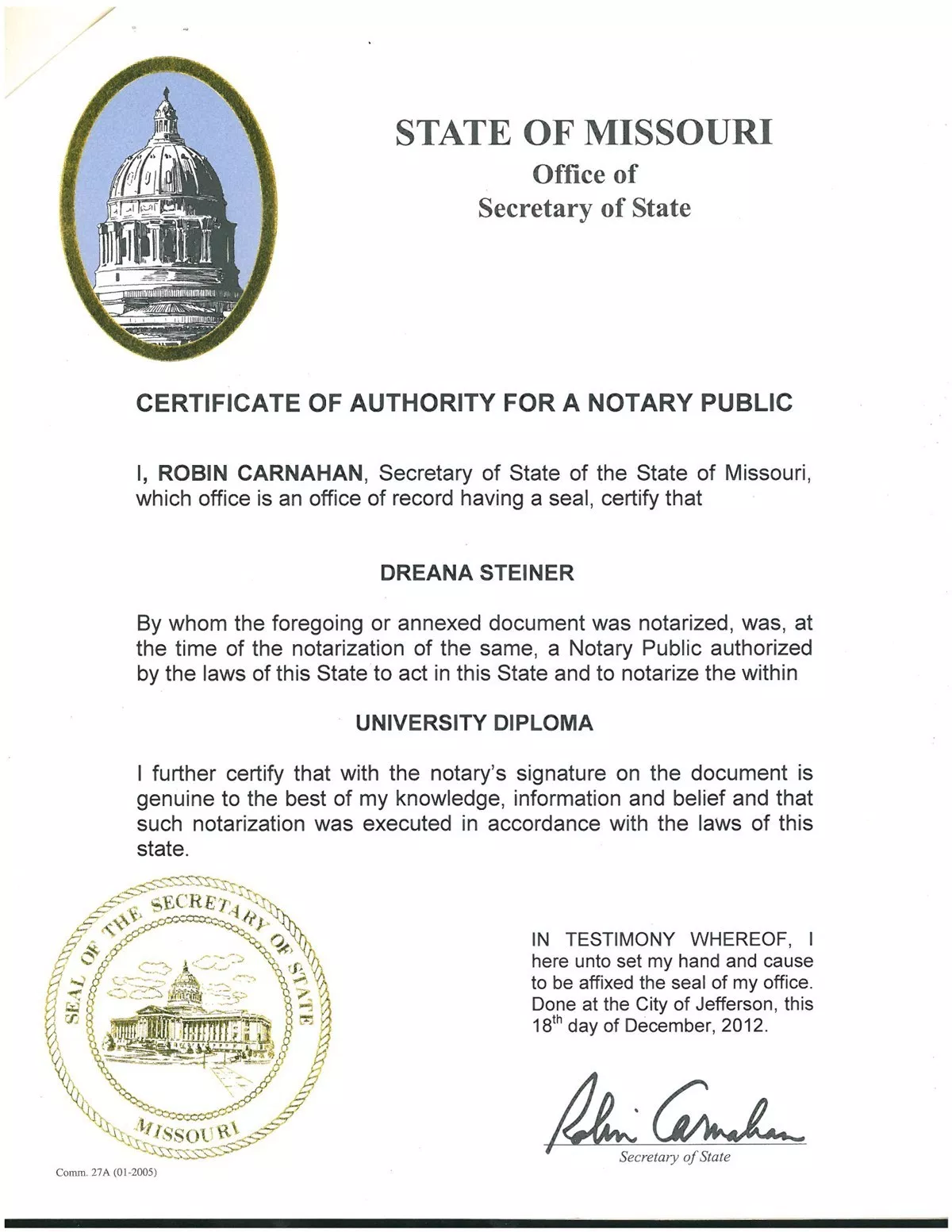 Certificate of Authority for Notary