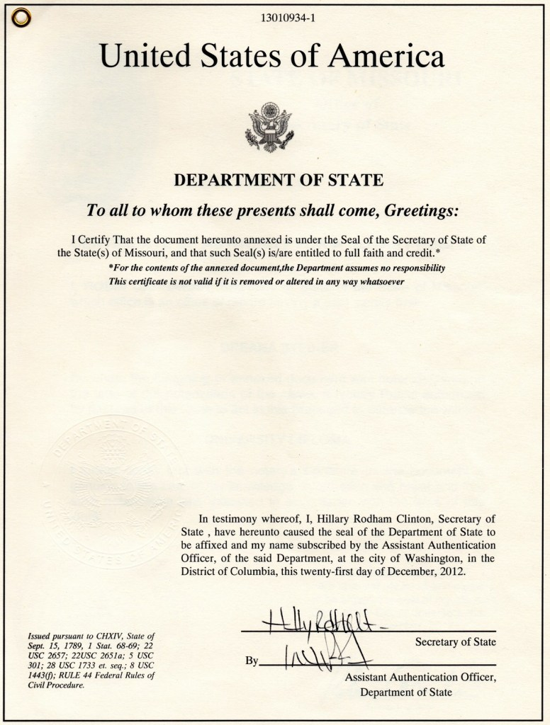 Hillary Attestation in Year 2012